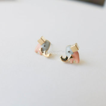 tiny elephant earrings, pink elephant earrings, blue elephant earrings, baby elephant, elephant jewelry_E005