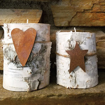 Birch Candle Holders, Set of 2 Real Natural Birch Log Tealight Candle Holders, Holiday Decor, Country Wedding,  Rustic Home Decor, RST231