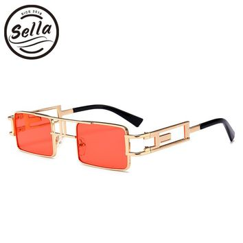 Sella 2018 New Fashion Steampunk Small Square Sunglasses Classic Retro Alloy Frame Candy Color Tint Lens Men Women Sun Glasses