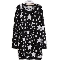 Fashion Womens Casual Spring Star Slim Fit Long Sweater Lady Black Korean Dress