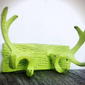 Rustic Modern Cast Iron Deer Antler Wall Hook - Shabby Cabin Cottage Chic