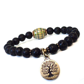 Mood Bead Mala Bracelet Tree of Life Jewelry Color Changing Spiritual Black Lava Rock Unique Stocking Stuffer Christmas Gifts For Her or Him