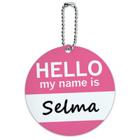 Selma Hello My Name Is Round ID Card Luggage Tag