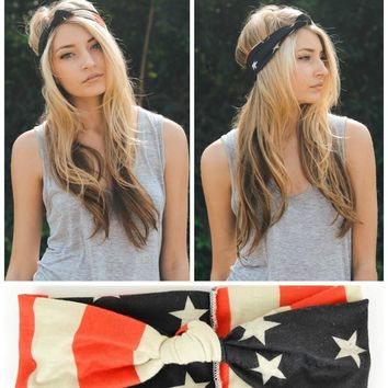 American Flag Top Knot Headband