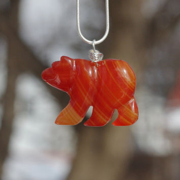 Red Agate Stone Bear Necklace ~  Polar Bear Necklace ~  Red Orange Stone ~ Small Bear Necklace ~ Unique Gift ~ Carnelian Like