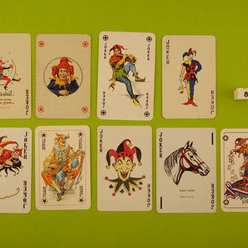 Vintage Joker playing cards. 9 Joker card collection, clowns, jesters, colour illustration, Man cave decor, Bar decoration, Games room