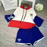 """Adidas"" Fashion Casual Multicolor Letter Print Short Sleeve Hooded Sweater Set Two-Piece Sportswear"
