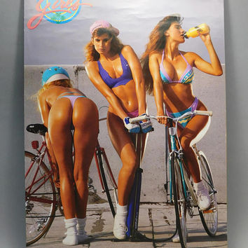 1980s Vintage / California Girls Poster / Funky Enterprises Inc / Poster #3177 / Girls on Bikes / 22 x 34 / Dorm Room Poster / Frat Party