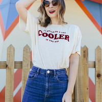 "New Summer fashion women O Neck letter""COOLER"" short sleeve T-shirt -0627"