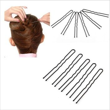 Fashion 50Pcs Hairpin Bobby Pin Black Metal Clip U Shape Wave Barrette Hair Styling Tool Women Wedding Jewelry Hair Accessories