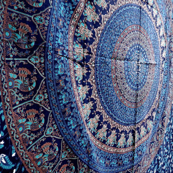 Twin Bedspread Tapestry elephant mandala dorm decor beach throw tapestries