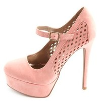 Laser Cut-Out Mary Jane Platform Pumps by Charlotte Russe
