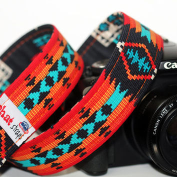 Tribal Camera Strap - Southwestern Aztec in Orange