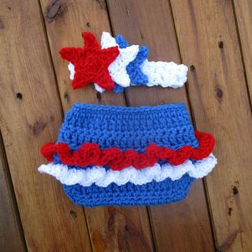Crochet Ruffle Diaper Cover And Headband Blue Newborn Photo Prop