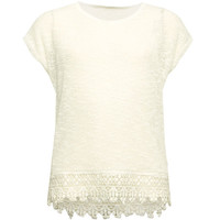 Full Tilt Hachi Knit Crochet Trim Girls Top Cream  In Sizes
