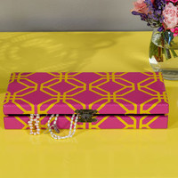 Slim Pink Chinese Jewellery Box