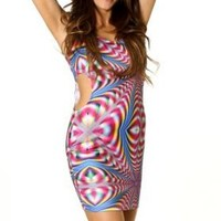 Sexy Clubwear Dress Multi Color Kaleidoscope Print Sleeveless Side Cut Out Mini