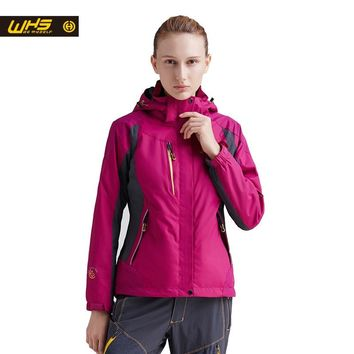 WHS  new sport outdoor hiking Camping jacket women clothing spring waterproof windproof two suit  female warm coat Inner Fleece