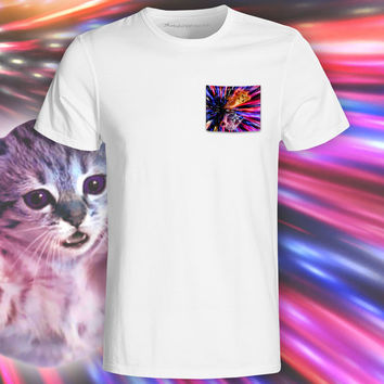 Flying Laser Cat White Pocket Tee