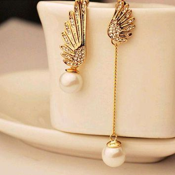 DCCKFV3 Tomtosh 2016 Elegant Gold Asymmetric Double Angel Wings Stud Earrings Long Pearl Earrings For Women Pendientes Jewelry