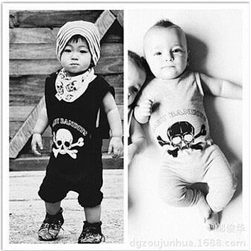 SR078 Skull printed cotton newborn baby rompers girl dresses baby clothes children's clothing set bebe kids clothes