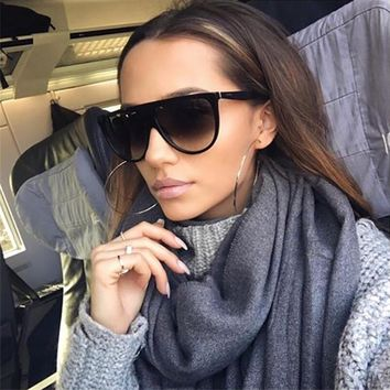 Thin Flat Top Sunglasses Women Luxury Brand Designer Retro Vintage Sun Glasses Female Kim Kardashian Sunglasses Clear Glass 0166