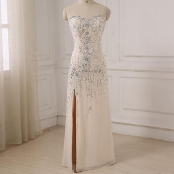 Sexy Luxury Evening Dresses Sweetheart Sleeveless Beaded Sequins Party Prom Dress with Side Slit