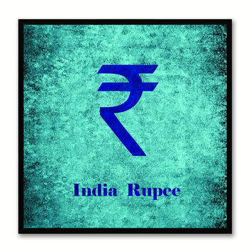 India Rupee Money Currency Aqua Canvas Print with Black Picture Frame Home Decor Wall Art Collection Gifts