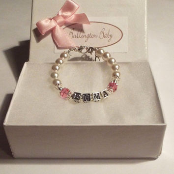 Baby Bracelet, Girls Bracelet, Name and Birthstone Bracelet,, Baby Pearls, Baby Jewelry, Girls JewelrySilver Name Bracelet, (B30)