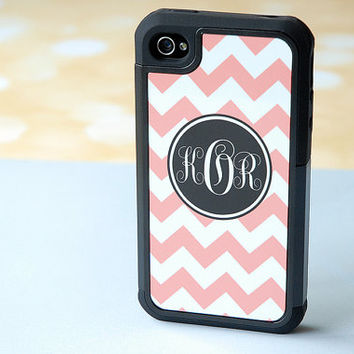 Peach + White Chevron Hybrid Phone Case + Black Rugged Case + Soft Coral