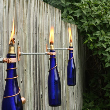 2 Glass Wine Bottle Tiki Torches - Gifts for Dad - Outdoor Lighting - Lighting Decor - Modern Lighting - Shabby Chic - Gift Idea - Garden