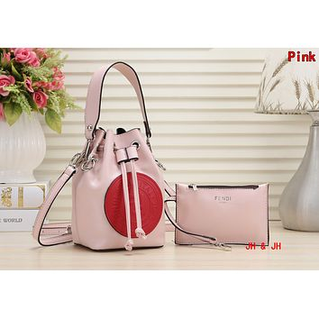 FENDI Newest Fashionable Women Shopping Bag Leather Handbag Tote Wrist Bag Two Piece Set Pink