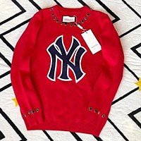 GUCCI & NY & LA Popular Women Jacquard Knit Round Collar Sweater Pullover Top Sweatshirt Red