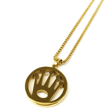 Stainless Steel Gold Crown Necklace