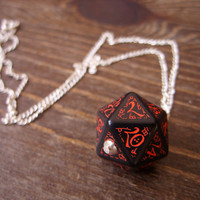 dark elf dice pendant elvish d20 dice rgp larp black red inscriptions elvish runes dark elf tolkien fantasy