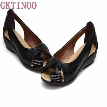 Plus size(35-43)New 2017 summer shoes women genuine leather casual wedges shoes sandal