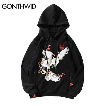 GONTHWID Embroidery Japanese Crane Zipper Fleece Hoodies 2018 Men Hip Hop Casual Pullover Hooded Sweatshirts Fashion Streetwear