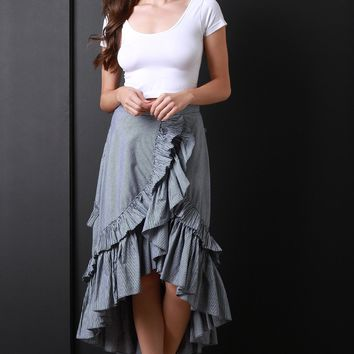 Pinstriped Ruffle High Low Maxi Skirt