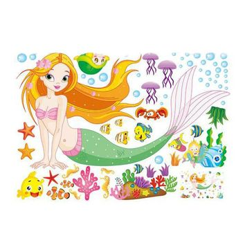 Cartoon Mermaid Wall Sticker Removable Vinyl Decal Home Decor Poster for  Girls Kids room 0238 Kindergarten nursery Art Mural