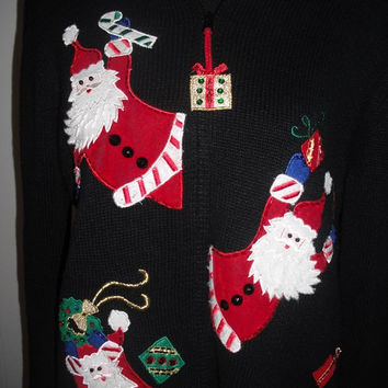 Vintage Ugly Christmas Sweater ~ Santas poppin' out everywhere With presents Work Party