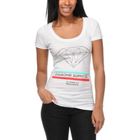 Diamond Supply Girls 15 Years Of Brilliance White Scoop Neck Tee Shirt