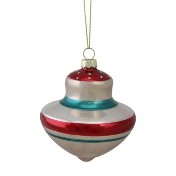 "4"" (100mm) Winter's Beauty Geometric Glass Christmas Ball Ornament"