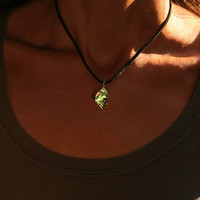 Green Nugget, Iridescent Bismuth Crystal Pendant, Jewelry