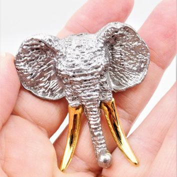 Ultra Craft Elephant Brooch, Pewter, Gold Tone Tusks, Vintage Safari Brooch