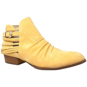 Womens Ankle Boots Western Block Heel Bootie Strappy Stud Buckle Shoes Yellow