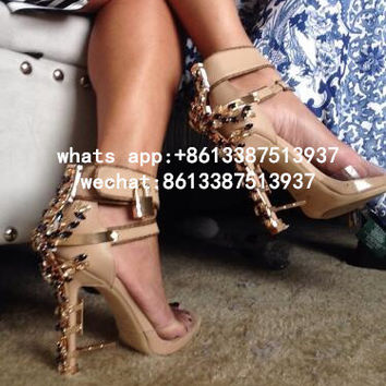 2017 New Ankle Wrap Rhinestone High Heel Shoes Woman Abnormal Jeweled heels Gladiator Sandals Women Big Size 43