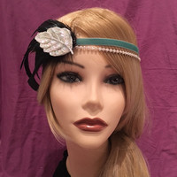 1920s Ornate Feather Flapper Green Blue Sequin Beaded Leaf Headband Headpiece Velvet 1920's 20s Feather Art Deco Decorative Gatsby (668)