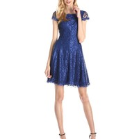 Adrianna Papell Women's Cap-Sleeve Lace Party Dress