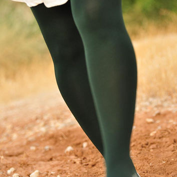 Dark Forest Green Tights -  Unique color tights - Footless S - L
