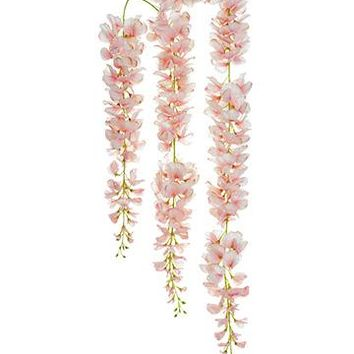 "Artificial Wisteria Hanging Garland in Pink - 44"" Long"